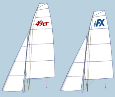current 49er sailplan vs new FX sailplan